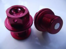 "Magnetic CNC red sump plug Oil Drain Bolt ""Lockwire drilled"" M14X 1.5 Yamaha"
